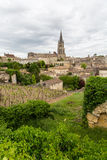 Saint-Emilion village and vineyard. French vineyard with the village of Saint Emilion in the background royalty free stock photography