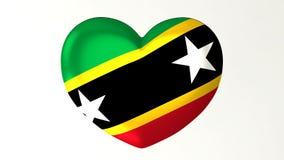 Saint en forme de coeur Kitts et Niévès d'amour de l'illustration I du drapeau 3D illustration stock