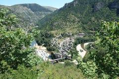 Saint-Enimie village in France. Saint-Enimie village,Gorges du tarn,Lozère,Languedoc-Roussillon region of France Stock Photo