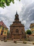 Saint-Erasme church and ww1 memorial, Uffholtz, Alsace, France Stock Photos