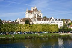 The Saint-Etienne cathedral in Auxerre city stock photos