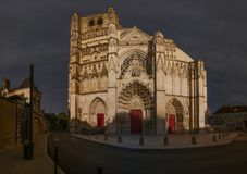 The Saint-Etienne cathedral in Auxerre. France, around sunset Royalty Free Stock Photo