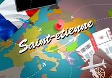 Saint-etienne city travel and tourism destination concept. Franc. E flag and Saint-etienne city on map. France travel concept map background. Tickets Planes and stock illustration