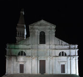 Saint Euphemia church in the night  in Rovinj on Croatia Royalty Free Stock Photo