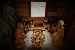 Saint Family in Bethlehem, Christmas Decoration royalty free stock image