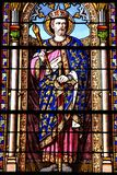 Saint Ferdinand. MADRID, SPAIN - OCTOBER 22, 2012: Saint Ferdinand stained glass art in Saint Jerome church San Jeronimo el Real in Madrid, Spain. The church royalty free stock photo
