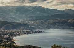 Saint Florent bay and Coastline of Corsica at Saint Florent Royalty Free Stock Photo