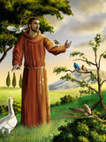 Saint Francis. Preaching to birds in a beautiful landscape. Digital illustration vector illustration