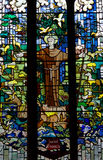 Saint Francis with animals in stained glass Stock Images