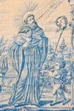 Saint Francis Antique Tiles. Saint Francis Handpainted Antique Tiles Stock Image