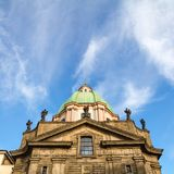Saint Francis of Assisi Church against a blue sky in Prague royalty free stock photo