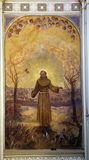 Saint Francis of Assisi. Fresco painting in church royalty free stock photos
