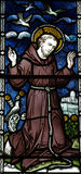 Saint Francis of Assisi in stained glass Royalty Free Stock Photos