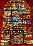 Saint Francis Stained Glass Seville Cathedral Image stock