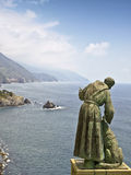 Saint francis statue cinque terra italy. Saint francis statue overlooking sea view cinque terra coast italy Royalty Free Stock Image