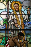 Saint Francis Xavier. Stained glass window Royalty Free Stock Photos