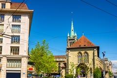 Saint Francois kyrka i Lausanne Arkivfoton