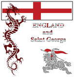 Saint George. English Saint George fighting the mythical dragon Royalty Free Stock Photos