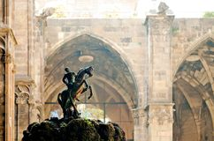 Saint George. Statue in the Barcelona Cathedral garden, Spain Stock Photos