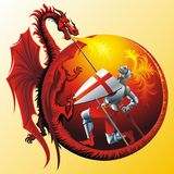 Saint George. With fire-spitting winged dragon vector illustration