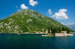 Saint George monastery on island in Boka Kotor bay, Montenegro royalty free stock image