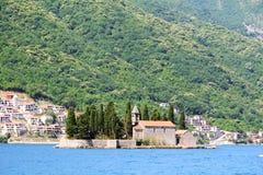 Saint George Benedictine monastery in Perast, Kotor bay, Montenegro stock photo