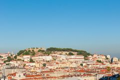 Saint George Castle, Lisbon. The castle of Lisbon  located on top of the tallest of Lisbon's seven hills of the historic centre of the capital city Royalty Free Stock Photos