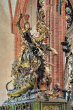 Saint George and the Dragon sculpture in Storkyrkan of Stockholm, Sweden Royalty Free Stock Photography