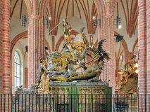 Saint George and the Dragon statue in Storkyrkan of Stockholm, Sweden Stock Images