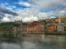 Saint George eglise and the vieux lyon district, Lyon old town, France Stock Photography