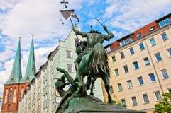 Saint George Fighting the Dragon Statue in Nikolai Quarter of Berlin, Germany Royalty Free Stock Photo
