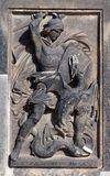 Saint George the fights the dragon. Architecture details royalty free stock photo