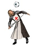 Saint George heading a football. 3d Digitally rendered illustration of St. George, the Patron Saint of England heading a football (soccer ball Royalty Free Stock Photo