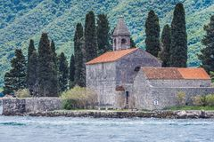 Saint George islet in Montenegro. Monastery and church on the famous Sveti Dorge islet in the Kotor Bay, near Perast town, Montenegro royalty free stock photography