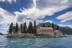 Saint George islet in Montenegro. Monastery and church on the famous Sveti Dorge islet in the Kotor Bay, near Perast town, Montenegro stock photography