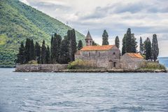 Saint George islet in Montenegro. St George Island with buildings of former monastery, located in the Kotor Bay in Montenegro stock images