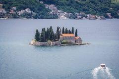 Saint George islet in Montenegro. Sveti Dorde islet with former monastery buildings in Kotor Bay, Montenegro stock photography