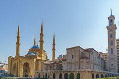 Saint George Maronite Greek Orthodox Cathedral and the Mohammad Al-Amin Mosque Stock Image