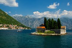 Saint George monastery on island in Boka Kotor bay, Montenegro. Saint George Benedictian monastery and church on St. George island Ostrvo Sveti Dorde in Boka stock image