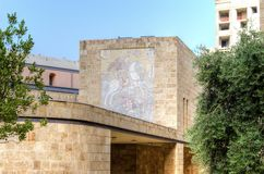 Saint George mosaic, Beirut. A view of the mosaic of St George Slaying the dragon in downtown Beirut, in Lebanon. Part of the wall of the Saint George Greek Royalty Free Stock Photography