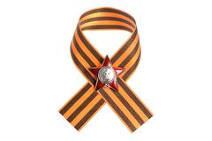 Saint George ribbon with Order of Red star isolate Royalty Free Stock Photography