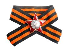 Saint George ribbon with Order of Red star isolate Stock Images
