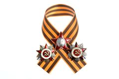 Saint George ribbon with orders of Great Patriotic Stock Photo