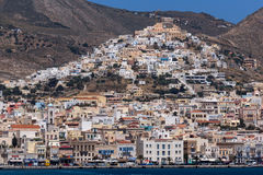 Saint George Roman Catholic Cathedral and panorama to Ermopoli town of Ermopoli, Syros, Greece Royalty Free Stock Image
