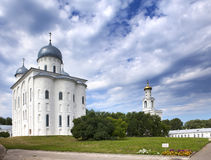 Saint George's Cathedral and bell tower, Russian orthodox Yuriev Monastery in Great Novgorod (Veliky Novgorod.) Russia Stock Image