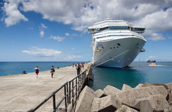 Saint George`s - Cruise ship moored. Caribbean sea - Grenada island - Saint George`s - Cruise ship moored Stock Photography