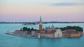 Saint George island in Venice. Saint George San Giorgio island in the evening, Venice, Italy stock video footage