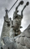 Saint George slaying a dragon by Poklonnaya Hill Obelisk Stock Image