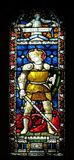 Saint George. Stained glass of All Saints` Anglican Church, Rome, Italy Royalty Free Stock Photos