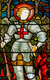 Saint George stained glass window. Victorian stained glass window showing Saint George with his defeated dragon.  Window on public display for over 100 years Stock Photography